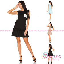 1895a94a1568a Charming Women's Shift Dress With Pocket Cap Sleeve Boat Neck Size 8-10 UK  FA399
