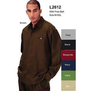 Men-039-s-3-pc-walking-suit-casual-sets-shirt-pants-belt-sty-2612-Brown