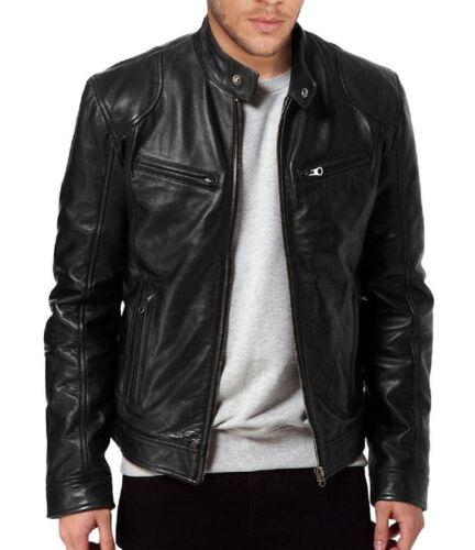 Men/'s SWORD Black Genuine Lambskin Leather Biker Jacket