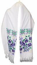 MEXICAN Rebozo Shawl WHITE with Purple Peacock Design SOUTHWESTERN Scarf Poncho