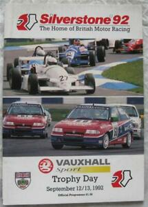 SILVERSTONE 12/13 Sep 1992 Vauxhall Sport Trophy Day Official Programme