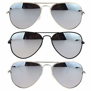 79769321cf Image is loading Mens-Silver-Reflective-Mirror-Lens-Classic-Police-Style-