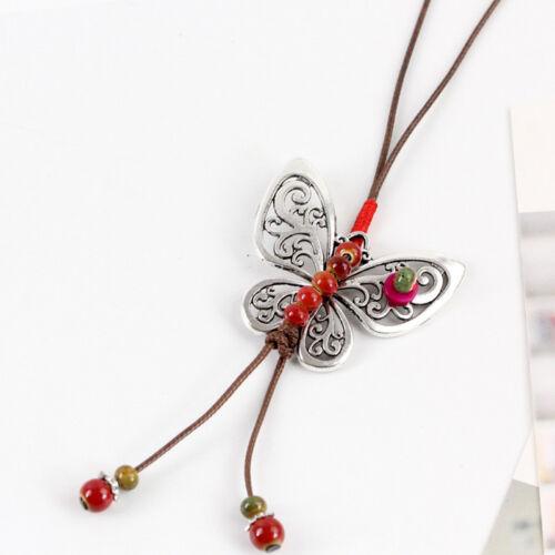 Rétro ethnique style papillon fait main en céramique Perle Sweater Chaîne Collier N314