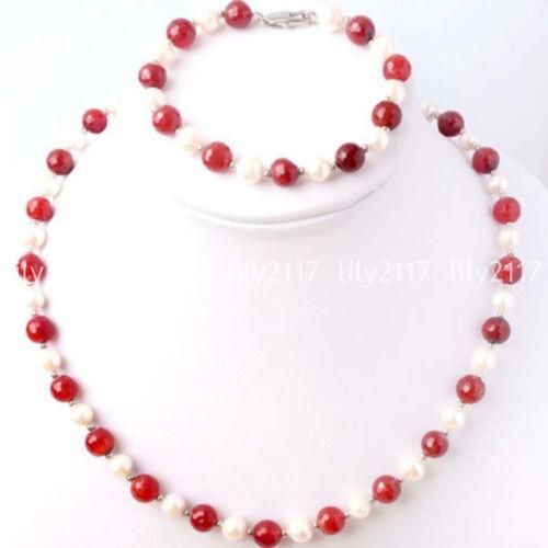 Naturel 7-8 mm blanc eau douce perle /& rouge jade Collier Bracelet Bijou Set