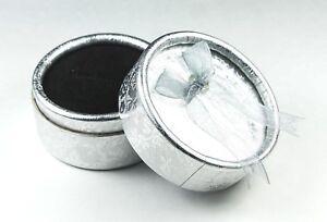 Silver-Ring-Boxes-x-12-Round-Bow-knot-Gift-Display-Black-velvet-sponge-inner