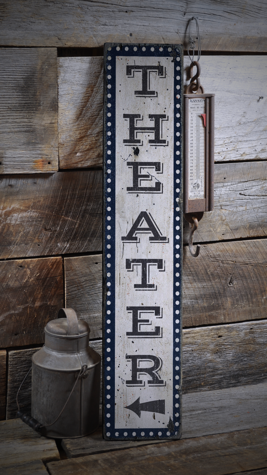 Movie Room, Home Theater, Grünical - Rustic Distressed Wood Sign ENS1000911