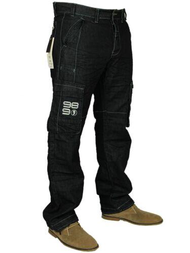 NUOVI Enzo Da Uomo Designer Cargo Combat blu coated Jeans Denim Pantaloni Tutti Girovita