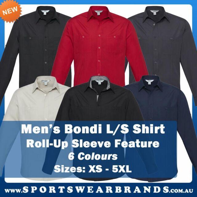 Mens Bondi Roll Up Long Sleeve Shirt Pockets Business Casual Office Work S306ML