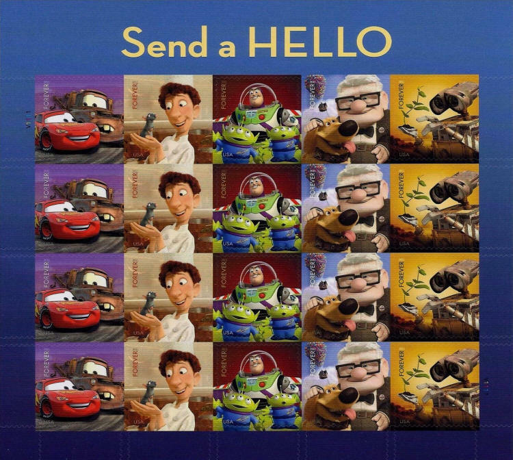 2011 44c Pixar Films: Send a Hello, Sheet of 20 Scott 4