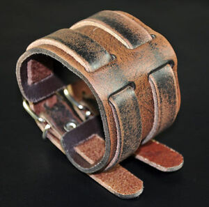 Details About Men S Double Band Through Wide Vintage Genuine Leather Bracelet Wristband Cuff