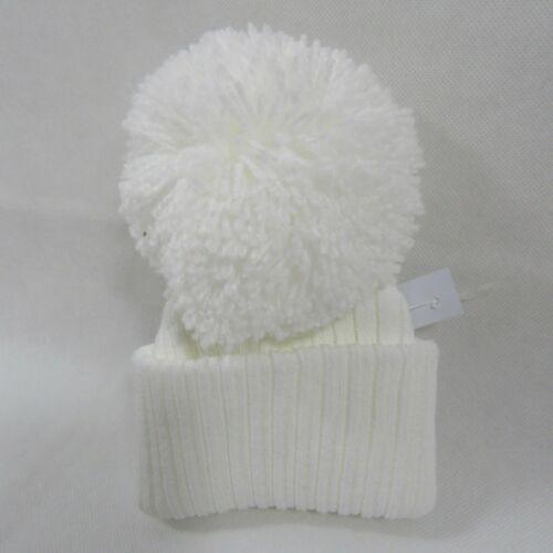 24 Baby Boys Girls Pink Blue White Knitted Winter Bobble Hat Big Pom Pom NB