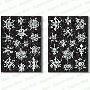 28 Snowflake Window Stickers Clings + Santa Stop Here Sign Christmas Decorations