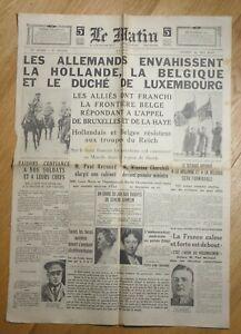 JOURNAL-LE-MATIN-SAMEDI-11-MAI-1940-LES-ALLEMANDS-ENVAHISSENT-LA-HOLLANDE