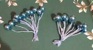 Vtg-Lot-Blue-21-Mercury-Glass-Balls-Chenille-Stems-Matching-New-Tagged-Japan