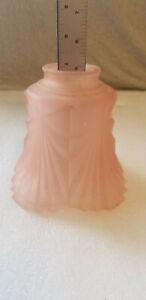 VTG-Pink-Frosted-Glass-Lamp-Light-Globe-2-1-4-034-Fitter-Art-Deco-Heavy