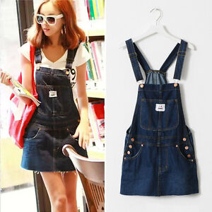 Details about Plus Size Women Casual Denim Slipdress Spaghetti Straps  Overall Jumper Dress