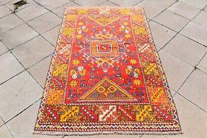 Fabulous Antique Rug 3'8'' x 6'1'' ft Vintage Kilim Turkish Nomads Wool Area Rug