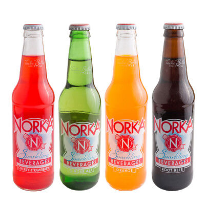 NORKA Soda Pop Variety 12pk (Root Beer, Cherry-Strawberry, Ginger Ale, Orange)