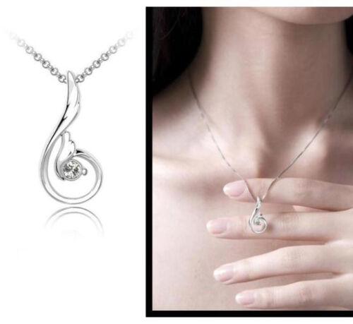 Cadena de plata 925 Sterling plata circonita señora cadena alas regalonuevo