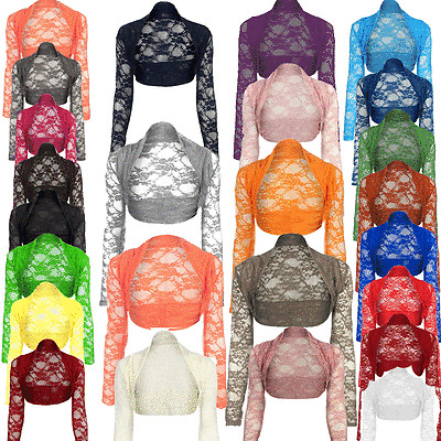 JUSTYOUROUTFIT Womens Plain tie Shrug Cropped Viscose Long Sleeve Top UK 8-14