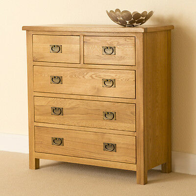 Lanner - Oak 2 over 3 Chest of Drawers / 5 Drawer Rustic Chest / Bedroom Storage