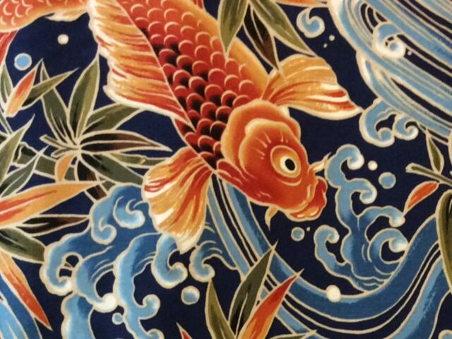 RPFTP016F Japanese Koi Fish Water Sea Wave Asia  Japan Cotton Quilt Fabric