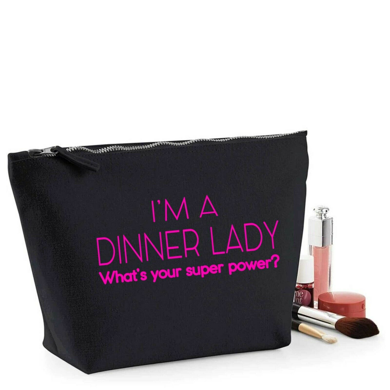 Dinner Lady Thank You Gift Women's Make Up Makeup Accessory Bag Pink Print