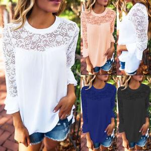 Damen-Chiffon-Spitze-Freizeit-T-Shirt-Sommer-Locker-Tops-Bluse-Hollow-Shirt-Sexy