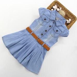 Girls-Summer-Dress-Casual-Blue-Denim-Kids-Short-Sleeve-Dresses-Age-3-14-Years
