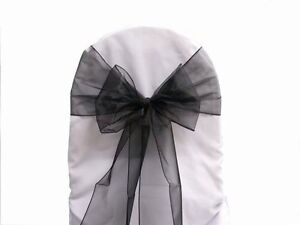 110 Black Organza Chair Sashes BNIP  MATCHING TABLE RUNNERS AVAIL - <span itemprop=availableAtOrFrom>Cheshire, United Kingdom</span> - 110 Black Organza Chair Sashes BNIP  MATCHING TABLE RUNNERS AVAIL - Cheshire, United Kingdom