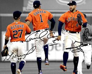 separation shoes bddbf cb9b7 Details about Carlos Correa George Springer Jose Altuve Astros Signed Photo  Autograph Reprint