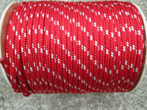 """3//8/"""" X 100/' Halyard line,Jibsheets,16 strand boat,anchor line,Red//White  USA,"""