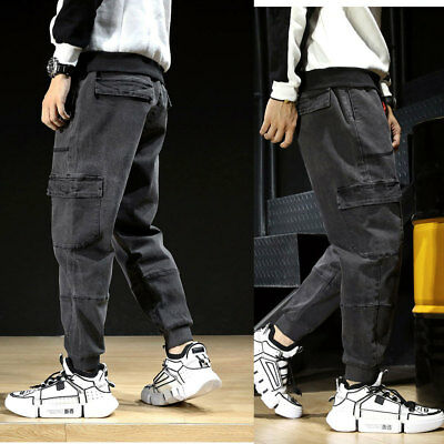 HOT Mens Jeans Denim Pant Tactical Trousers Pockets Cargo Combat Work Pants