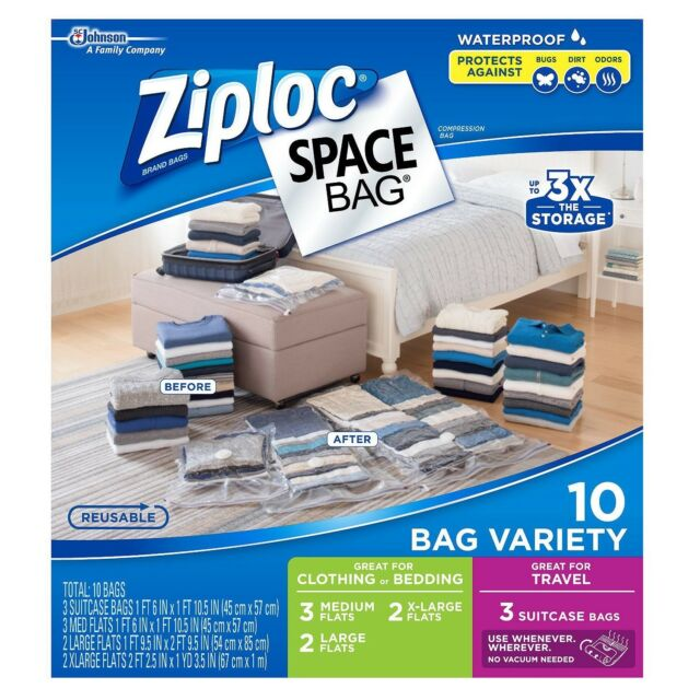 Ziploc E Bags Waterproof Vacuum Seal Compression Air Combo 10 Count