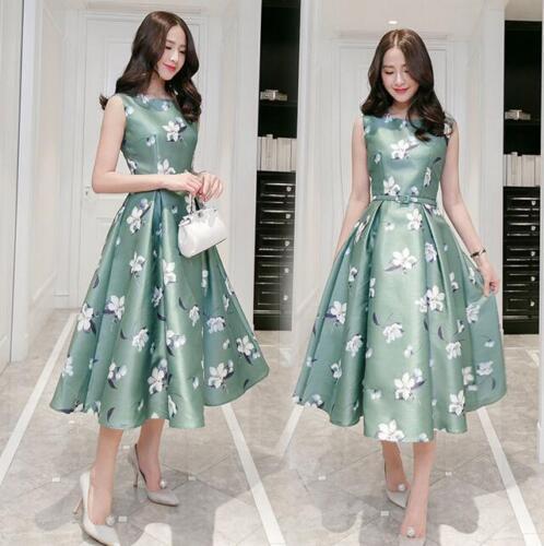 Lange afdrukken damesjurk rok jurken Casual slanke Mode pasvorm Mouwloze fqBR7xn7wI