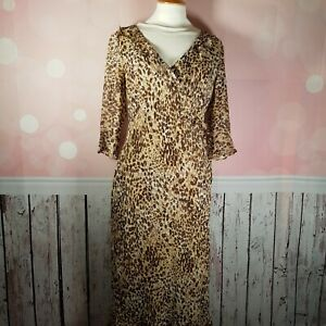 Austin Reed 100 Silk Leopard Print Chiffon Faux Wrap Dress Uk 14 Vgc Ebay