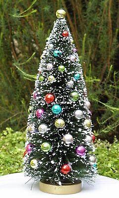 """10/"""" Red White /& Green Beaded Sisal Bottle Brush CHRISTMAS TREE Snow Village Putz"""