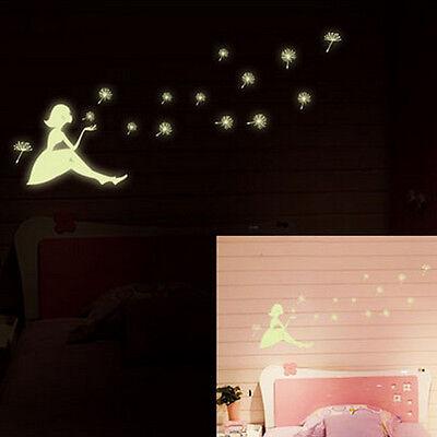 Dandelion Adesivi parete brillano al buio Fluorescenti Wall Decorazione Sticker