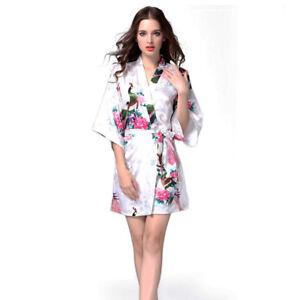9790e434ae Details about Women Plain Satin Robe Dressing Gown Bridal Wedding Bride  Silk Kimono Dress Lot