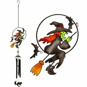 Witch-On-Broom-Halloween-Indoor-Garden-Decoration-Hanging-Wind-Chime