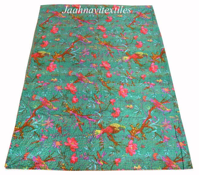 Indian Kantha Quilt Bettspread Bird Startseitelet Cotton Screen Drucken Bettding Blanket