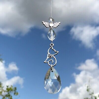 New Hanging Sun Catcher Cat Pet Loss Memorial ~ Angel and Clear Crystal Mobile