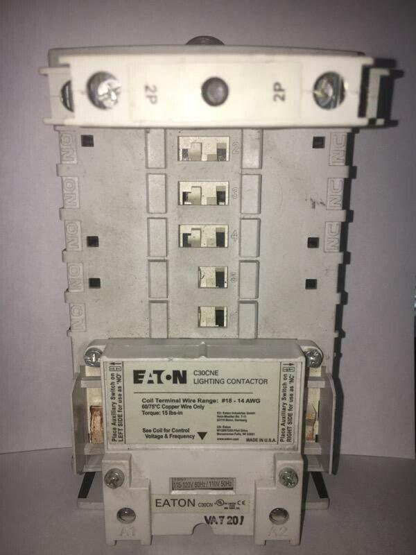 Eaton C30CNE20A0 Open Type C30 Series Mechanically Held Lighting Contactor 2-Pole 120 Volt 30 Amp Panel Mount