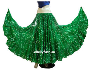 EMERALD-GREEN-Cotton-JAIPUR-25Yard-4Tier-Gypsy-Skirt-Belly-Dance-Polka-Dot