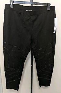 Modamix-Women-039-s-Plus-Black-Sequin-Leggings-Pants-Stretch-Size-2X