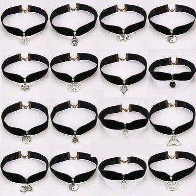 Black Gothic Retro Charm Velvet Cord Choker Necklace Pendant Boho Long Chain