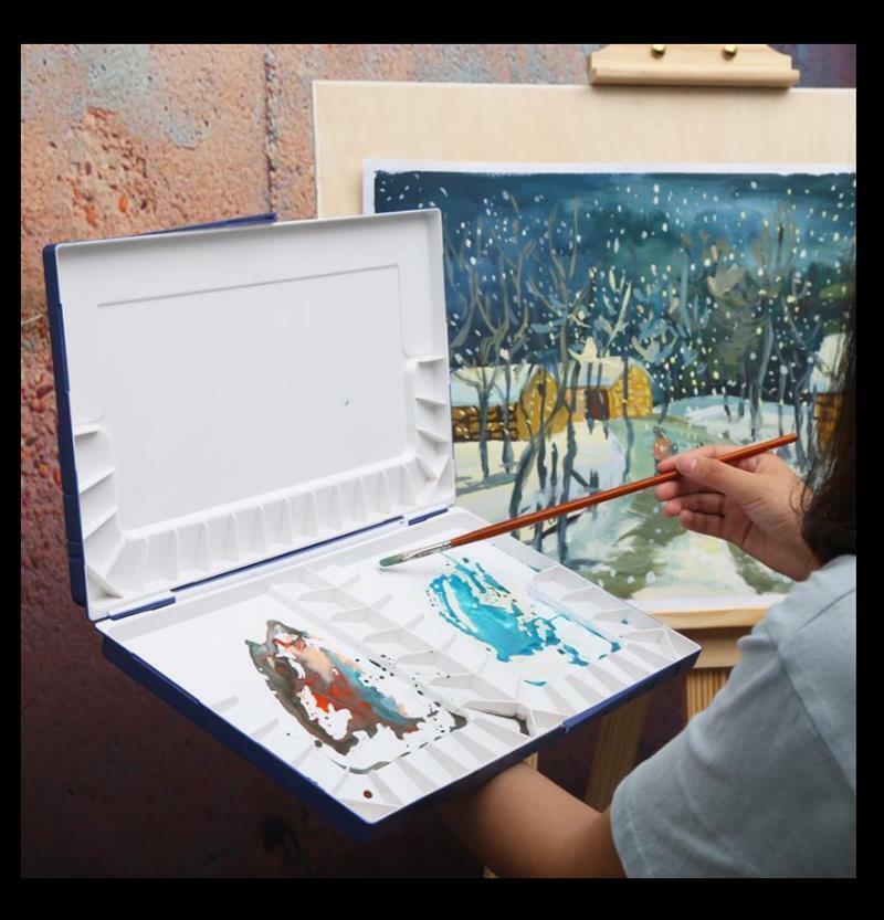 Watercolor Paint Palette,Oval 17 Holes Thicken Plastic Watercolor Paints Palette Color Palette Student Art Painting Supplies 2 Pcs