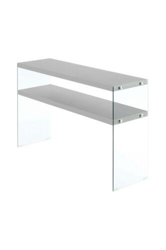 TV-Tisch Konsolentisch  Regal Fernsehtisch Holz Glas Silber