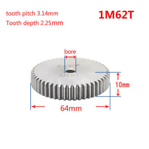 1 Mod 62T Spur Gear Steel Motor Pinion Gear Thickness 10mm Outer Dia 64mm x 1Pcs