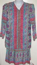 Lady Carol misses sz 8 floral colorful Artsy top & stretch skirt set lot j55